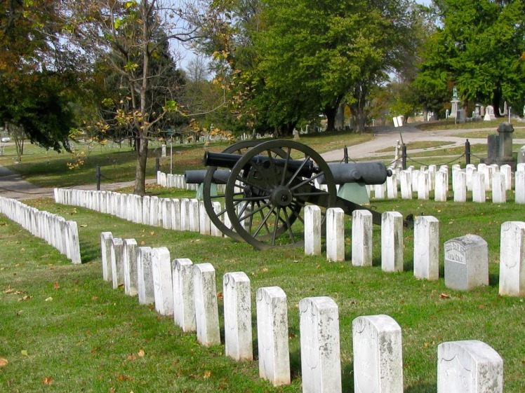 Civil War monuments and graves in the Oak Hill Cemetery