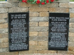 Two black granite tablets behind the cannon detailing the history / specifications of the cannon and the Warrick GAR Post #262