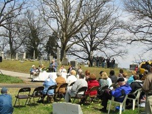 Rose Hill Cemetery cannon rededication ceremony. The 27th Indiana, Co. D SVR is visible in the background.